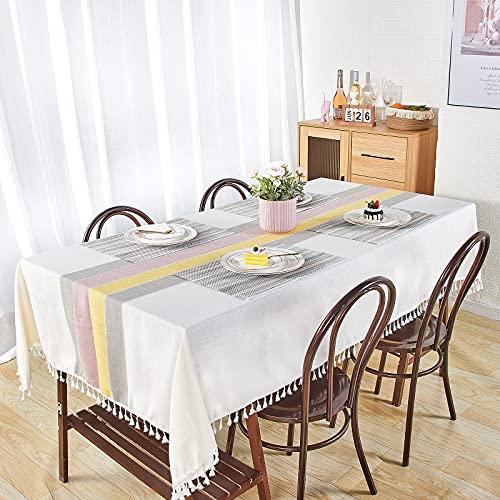 Tovaglia 140 × 240 con 6 Tovagliette Tovaglia da Pranzo Rettangolare Antimacchia Cotone Lino Tablecloth Multicolore Tovaglia Decorazione per Cenare Ristorante