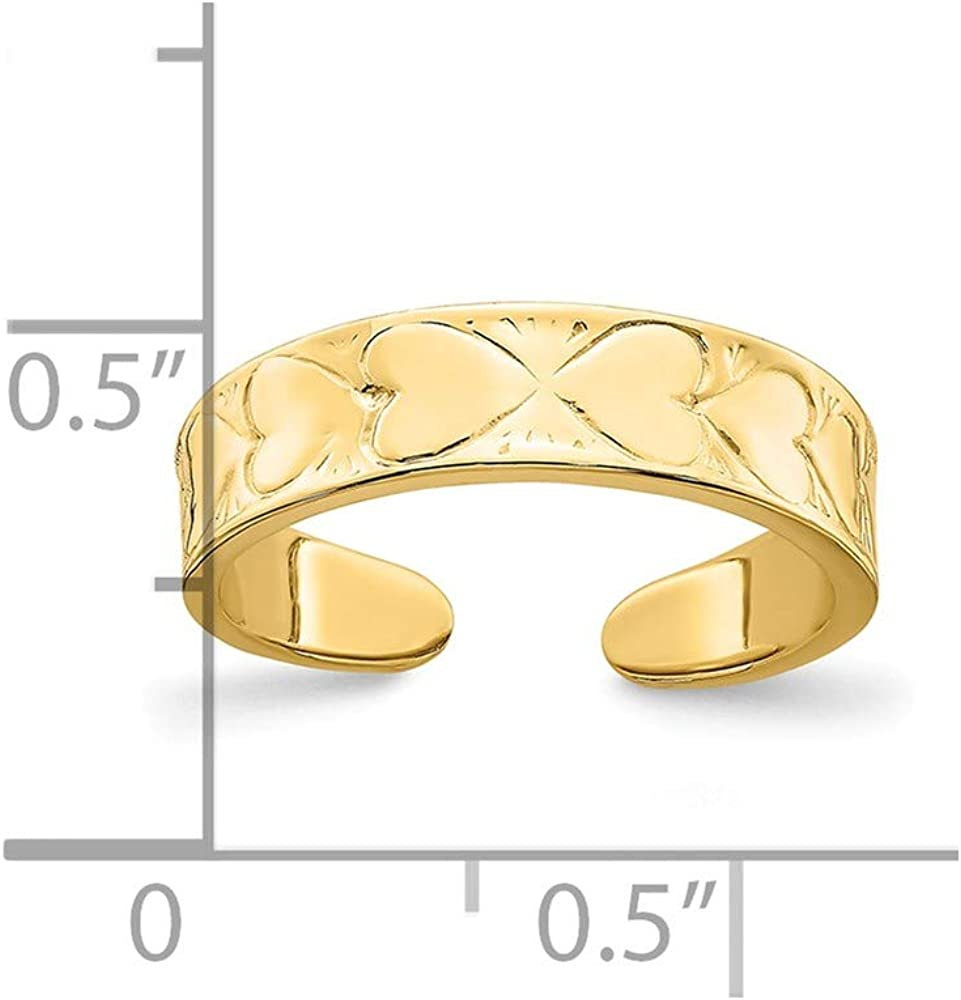 Solid 14k Yellow Gold Heart Pattern Toe Ring Adjustable