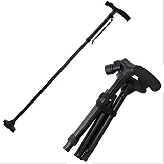 Led Light Walking Stick-Non-Slip Hopfällbar Fyrbenta Äldre Trekking Cane-Climb Telescopic Crutch 83-93Cm Svart,Single handle