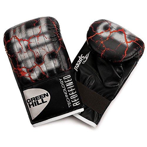 GREEN HILL Guanti da Sacco Speed Neri Boxe Pugilato Bag Gloves Fit (Nero, M)