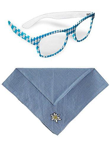 SET - Andreas, Brille mit Halstuch blau kariert