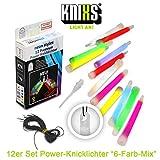 KNIXS 12er Set Premium Power-Knicklichter im 6-Farb-Mix leuchtend inkl. Spezialhaken