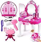Ejoyous - Juego de tocador para niños y niñas, con Taburete, Mesa de...