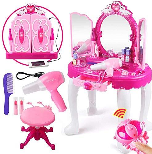Ejoyous Kinder Mädchen Schminktisch Set, Fashion Beauty Princess Kommoden mit Hocker Make-up Schreibtisch mit Hocker für Kinder ab 3 Jahren 45cm x 29cm x 75cm