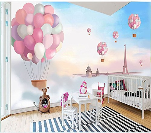 Wh-Porp 3D Tapete 3D Cartoon Pink Ballon Wandaufkleber Für Living Zimmer Tv Hintergrundbild 3D Kinder Zimmer Schlafzimmer Wandbild Papier Decor-128Cmx100Cm