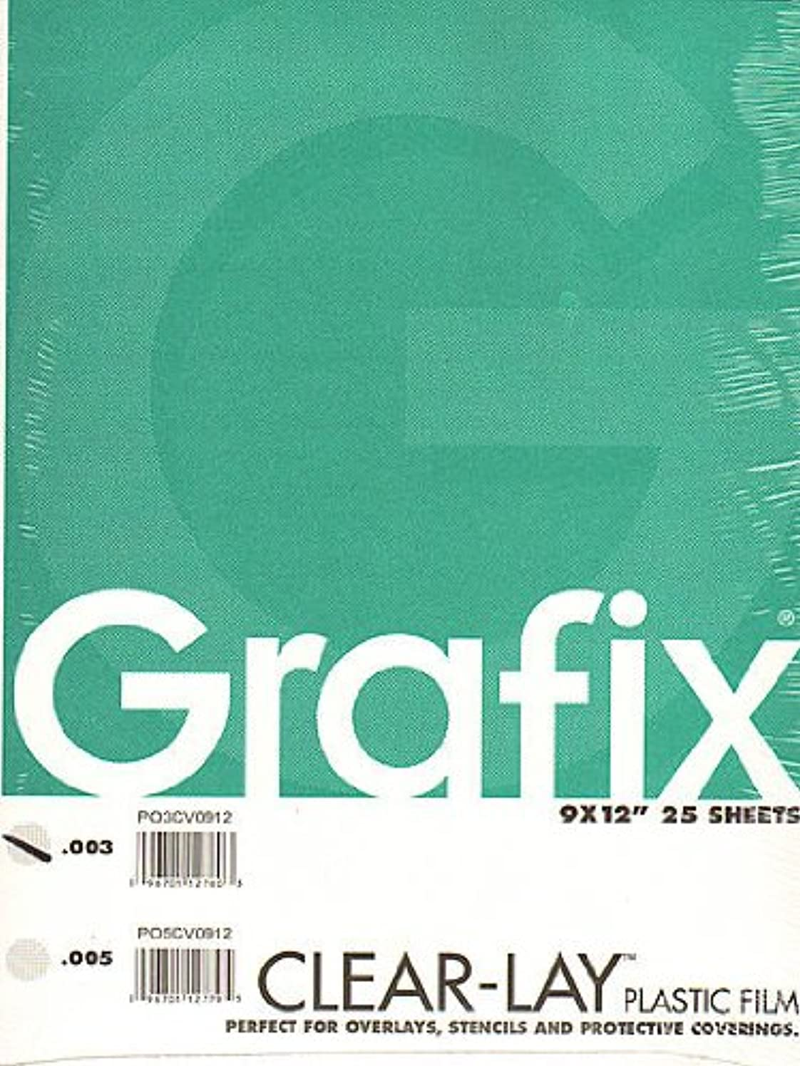 Grafix Clear-Lay Acetate Alternative 9 in. x 12 in. .003 thick pad of 25 jzimpcpnepnh