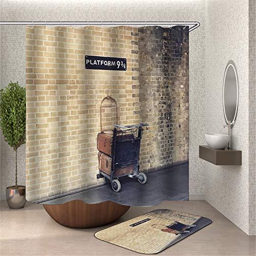 ZZZdz Een koffer geplaatst voor een oude bakstenen muur. 3D Hd afdrukken zal niet vervagen. Waterdicht douchegordijn 180 x 180 cm. Tapijt 40X60Cm Home Decoratie.