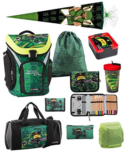 Familando Lego Schulranzen-Set Ninjago Explorer 10 TLG. mit Federmappe, Brotzeit-Dose, Trink-Flasche, Sporttasche, Ninja Schultüte 85cm grün und Regenschutz Spinjitzu Lloyd Energy
