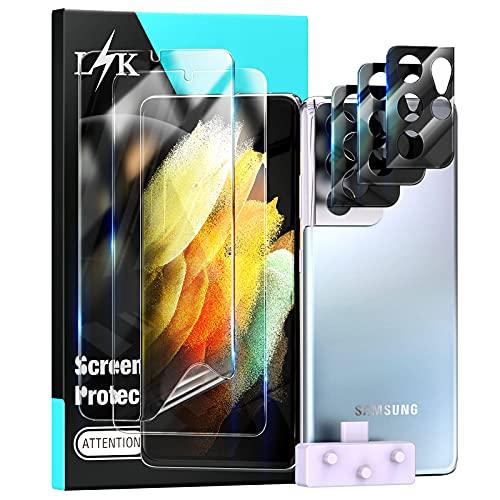LϟK 3 Pezzi Pellicola Protettiva per Samsung Galaxy S21 Ultra 5G 6.8 Pollice - HD Pellicola Schermo Protettivo (L'Immagine Principale Mostra l'errore, nessunaFotocamera Posteriore Pellicola)