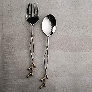 Mud Pie 46300005 Deer Serving Set Salad Servers One Size Bronze