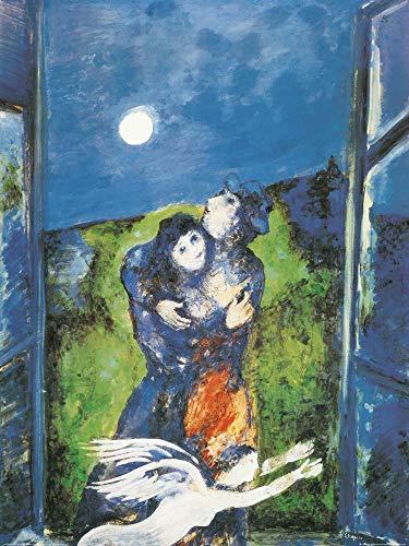 1art1 Marc Chagall - Liebende Im Mondschein Poster Kunstdruck 80 x 60 cm