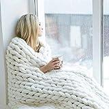 ASY Manta de punto gruesa hecha a mano, suave, gruesa, para sofá, para decoración de dormitorio, cama, cama, sofá, mascota, esterilla de yoga, color blanco, 120 x 150 cm