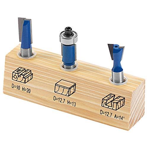 LUX-TOOLS HM Oberfräser-Set, 3-teilig | Fräser-Set inkl. Zinkenfräser und Bündigfräser mit jeweils 12,7mm Ø und 8mm Schaft sowie Nutfräser mit 10mm Ø und 8mm Schaft