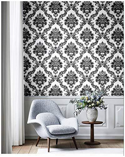 Blooming Wall Vinyl Vintage Silver Black White Damasks Wallpaper, 57 Square ft/Roll
