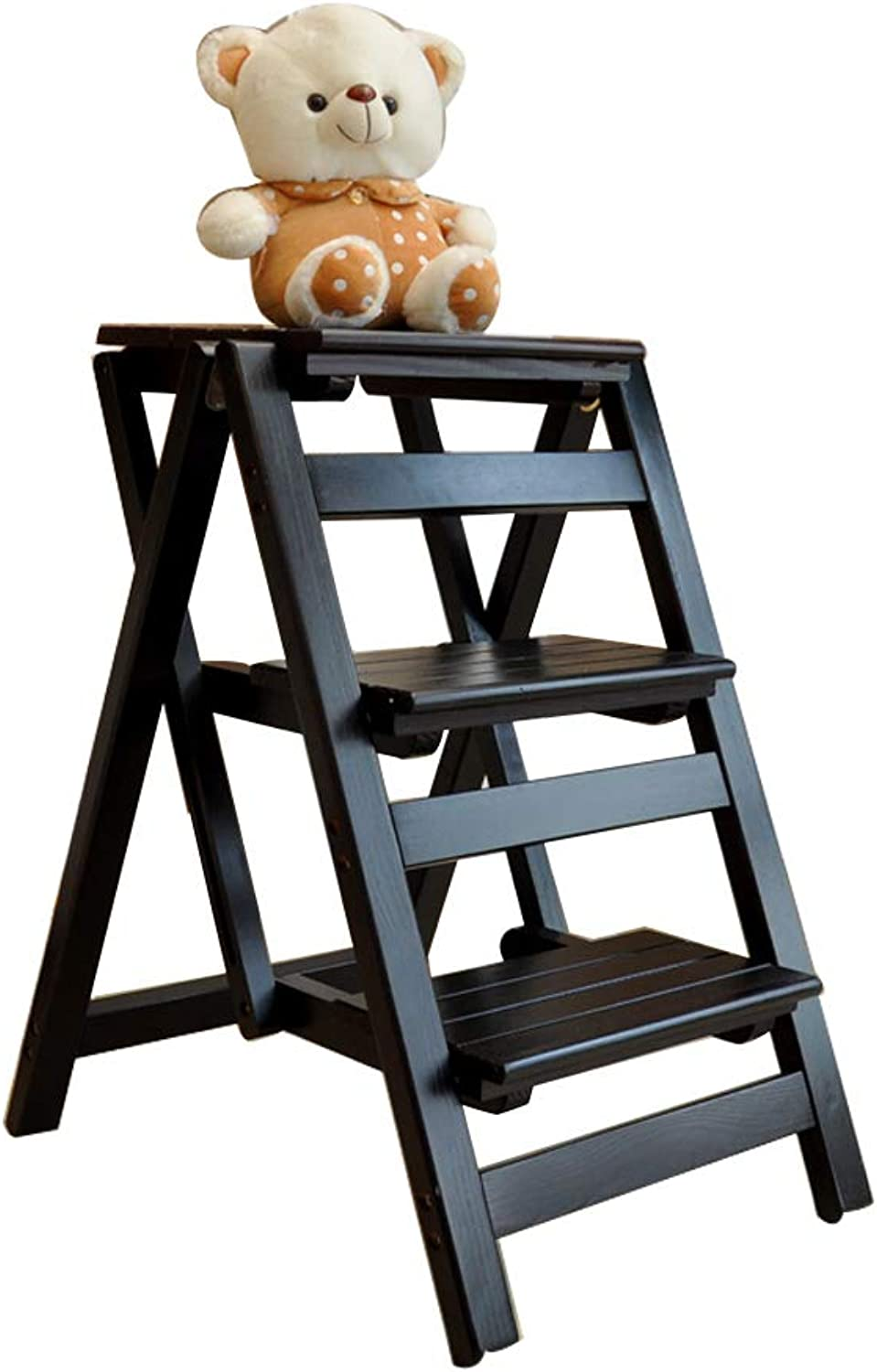Solid Wood Step Stool Folding Portable Ladder 3 Layer Pedal Indoor Climbing Ladder Herringbone Home Kitchen Bathroom Library Home Decoration Max Load 150kg Black