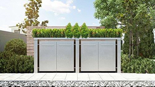 Mülltonnenbox Pflanzdach Plandesign Edelstahl 120 Liter 4 Mülltonnen