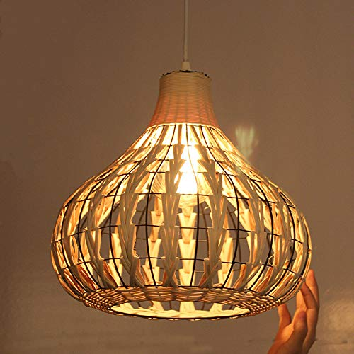 Bamboe rieten lampenkap rotan lamp kroonluchter originele verlichting eenvoudige Aziatische hangende kroonluchter voor restaurant Cafe Bar Decoration E27,Natural