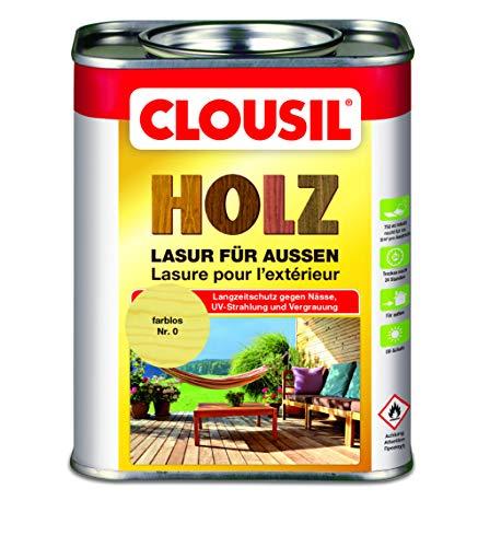 CLOUsil Holzlasur Holzschutzlasur für außen farblos Nr. 0, 0.75L: Wetterschutz, UV-Schutz, Nässeschutz und Schimmel für alle Holzarten - in verschiedenen Farben
