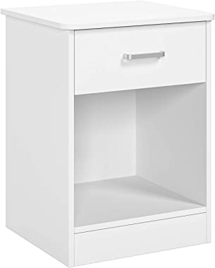 Nightstand 2 Tier, Bedroom End Table Sofa Side Table with Drawer and Storage Cabinet, Living Room Furniture, Easy Assembly, W