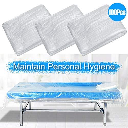 QoFina 100pcs Einweg Bettwäsche | Bettlaken aus PE-Vlies | Bettlaken | Abdeckung | Massageabdeckung | Weiß | Hygiene | Hygienelaken