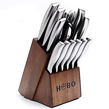 Knife Set, HOBO 14-Piece Kitchen Knife Set with Block Wooden, Self Sharpening for Chef Knife Set, Stainless Steel, Boxed Knife Sets