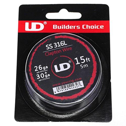 Youde UD SS316 Clapton Draht zum Selbstwickeln von Coils, circa 4.5 m Rolle, 0.4 x 0.25 mm Durchmesser (26 x 30 awg), 1 Stück