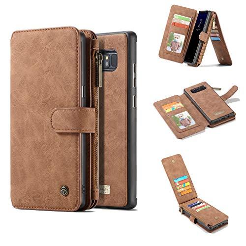【A9H】Galaxy Note 8 ケース手帳型 分離式 マグネット 取り外し自由 ビンテージレザー 多機能 手帳型ケース カードスロット ジッパーバッグ 財布一体型 docomo SC-01K au SCV37 手帳カバー(ブラウン)
