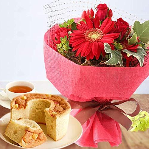 誕生日プレゼント バラ 花コラボ ケーキ洋菓子 花とスイーツ アレンジメント生花 お祝い 内祝い フラワーギフト シフォンケーキ4号付 花ギフト (レッド)
