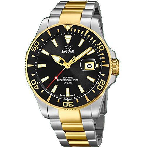 JAGUAR Reloj Modelo J863/D de la colección Executive, Caja de 43,5 mm Negro con Correa de Acero Bicolor para Caballero