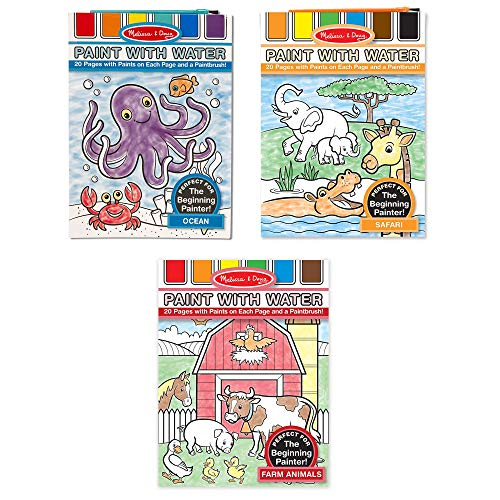 Melissa & Doug Paint with Water Bundle Contains Farm, Ocean and Safari