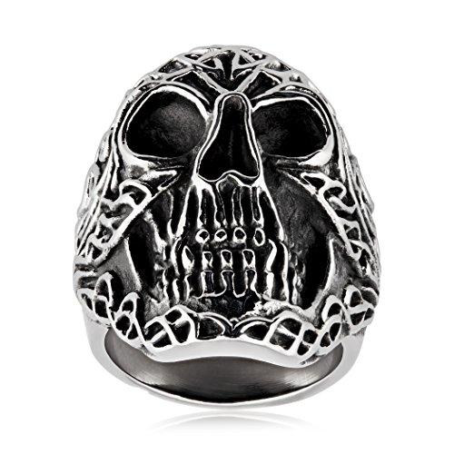 | Crucible Stainless Steel Celtic Skull Biker Ring - Size 8