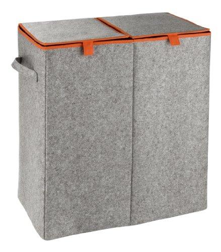 WENKO 3440401100 wasmand Uno vilt oranje - wasmand, capaciteit, grijs