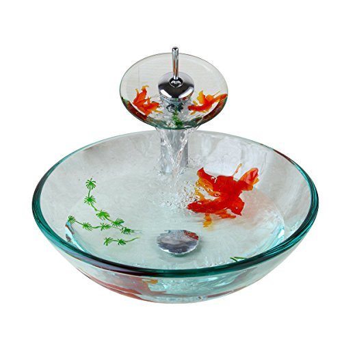 Bathroom Art Hand Painting Gold Fish Glass Basin Vanity Vessel Sink Bowl Tap+Waterfall Faucet...