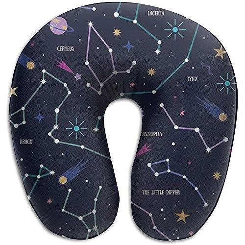 Cuscino da viaggio a Forma di U Cuscino da Collo Cuscino per dormire Comodo Cuscino cervicale per supporto Testa per volantina per Auto da ufficio (Galaxy Constellation)