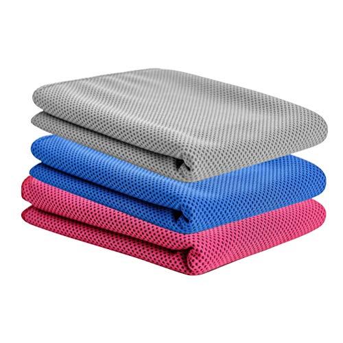 LIOOBO Toalla de enfriamiento de 3 Piezas Toalla de Microfibra de Secado rápido con Bolsa Deportes Fitness Correr Acampar (Gris Rosado Azul)