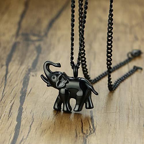 YAMAO Hombre Collar,Joyería para Hombre para Colgante con Forma de Elefante, Collar con medallón de Recuerdo de Acero Inoxidable para Mascotas y Mujeres