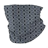 Q&SZ Sweatshirt Outdoor Headband Japanese Diamond Line Pattern with Squares and Abstract Graphic Flowers Charcoal Grey Dark Blue White Scarf Neck Gaiter Face Bandana Scarf Head Scarf