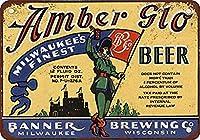MetalBanner's Amber Glo Beer 金属板ブリキ看板警告サイン注意サイン表示パネル情報サイン金属安全サイン