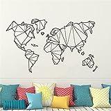 Gran tamaño Abstarct Líneas geométricas Geometría Triángulos Mapa del mundo Tierra Continente Vinilo Etiqueta de la pared Calcomanía Sala de estar Oficina Estudio Decoración para el hogar Mural
