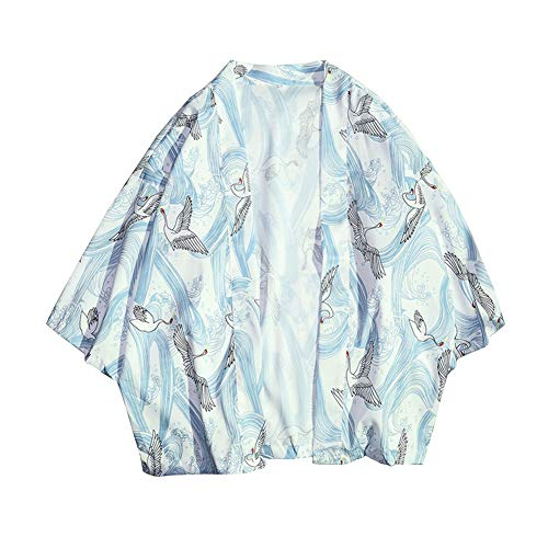 Chaqueta Haori De Verano Capa Japonesa para Hombre Abrigo Cardigan Kimono Hippie Ropa como Imagen XL
