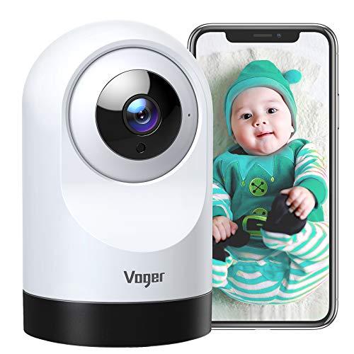 Voger Baby Monitor, 360 Grad WLAN Home Security Kamera, PTZ Indoor Kamera mit 1080P IR Nachtsicht, Bewegungs-Tracking, 2-Wege-Audio, Kompatibel mit Alexa