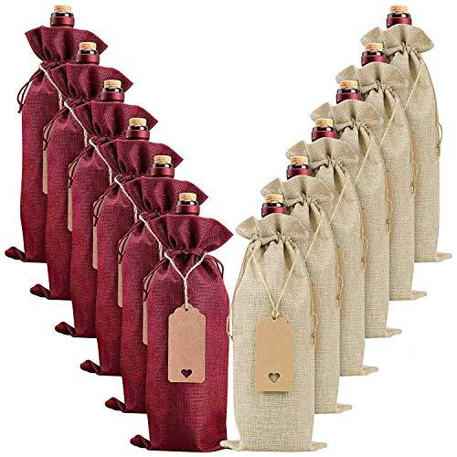 Fauge Bolsas de vino de arpillera, bolsas de regalo de vino, 20 bolsas de botellas de vino con cordón, etiqueta y cuerda, fundas reutilizables para botellas de vino