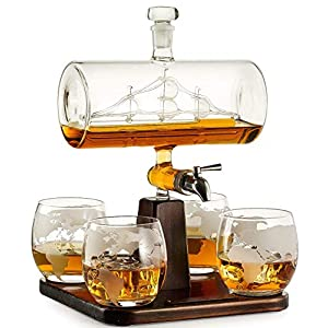 Whiskey Decanter with Antique Ship – The Wine Savant Ship Decanter...