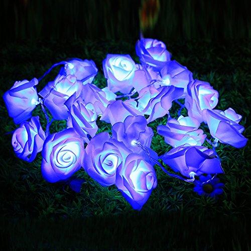 Dekorative Lichterkette Rosen, 2m, 20LED, Dekoration, für Hochzeit, Weihnachten, Urlaub, Partys etc. blau