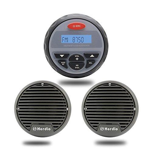 Resistente al Agua Radio Marino Sistema de Sonido Estéreo Audio Bluetooth MP3 para Barco ATV Moto Radio FM Am + 7,6 cm Resistente al Agua Altavoz