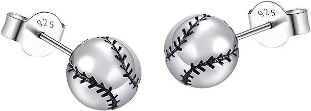 Silver-tone Softball Print Glass Stud Earrings 12mm