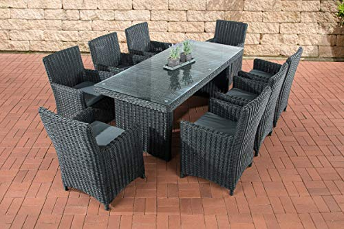 CLP Fontana XL Polyrattan Garden Set Including Upholstery Garden Set: A Dining Table with Glass Top and 8 Chairs Available
