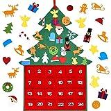 Calendario Dell'Avvento Natale, Albero di Natale in Feltro per Bambini, Calendario Avvento da Riempire, Albero di Natale Feltro Calendario dell'avvento con 24 Ornamenti per Decorazioni Natale