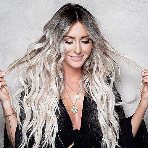 AISI QUEENS Long Wavy Synthetic Wig Ombre Platinum Blonde Wigs for Women Middle Part Natural Hair Curly Wigs Heat Resistant Fiber