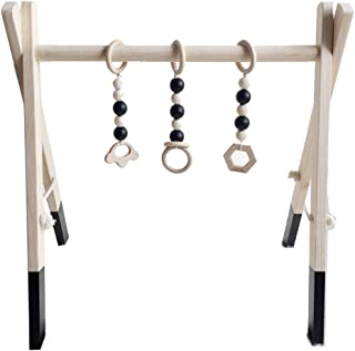 Olpchee Funny Wooden Baby Play Gym Foldable Baby Activity Gym Hanging Bar with 3 Newborn Wood (Black)